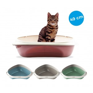 10536 Arenero para gatos 58 cm SHUTTLE ANGOLARE con los bordes en relieve